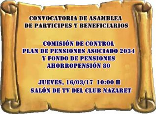 Convocatoria de Asamblea de Partícipes y Beneficiarios del Plan de Pensiones